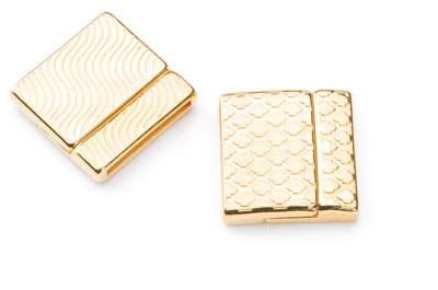 magnet clasp 24mm rhombus for 20mm flat leather gold x3pcs