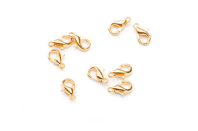 Clasp zamac 10mm gold plated x100pcs