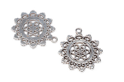 pendant flower of life 30mm silver x4pcs