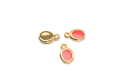 enamel oval pendant gold color 15x10mm coral orange x10pcs