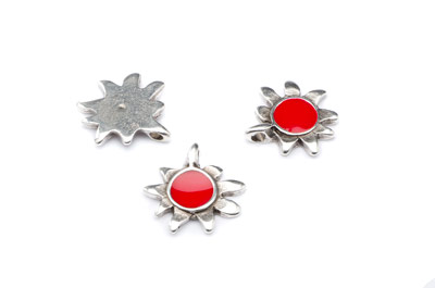 enamel pendant sun 19mm red x10pcs