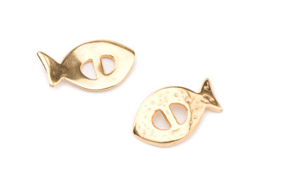 slider bead fish 28x17mm gold color x10pcs
