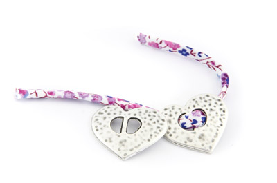 slider bead heart 26x22mm x15pcs