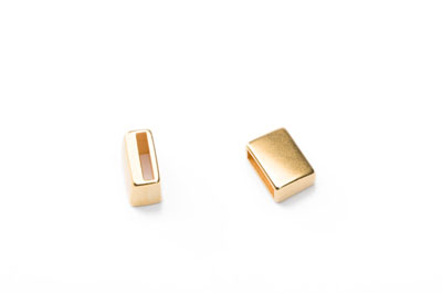slider 9x12mm gold plated for closure of 10mm flat leather  x10p