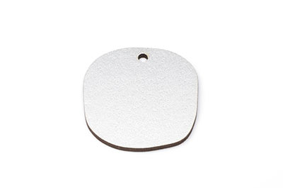 irregular round wood pendant 32mm silver tone x10pcs