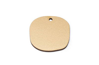 irregular round wood pendant 32mm gilded x10pcs