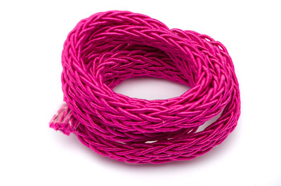 polyester braided cord 7x4mm fuchsia x1 spool (approx 10m)