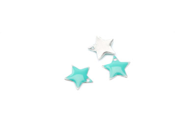 enameled star 12x12mm aqua x50pcs