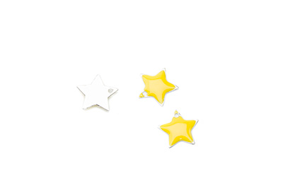 enameled star 12x12mm yellow x50pcs