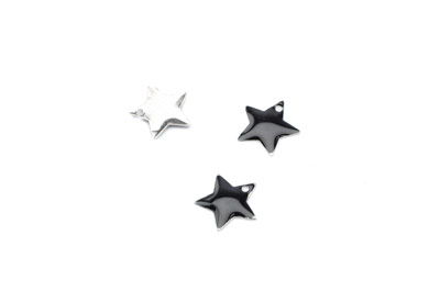 enameled star 12x12mm black x50pcs