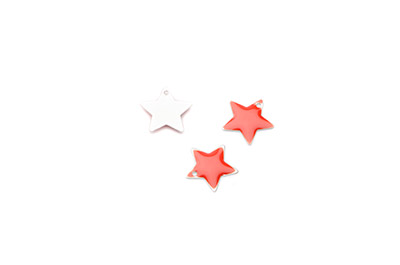 enameled star 12x12mm red x50pcs