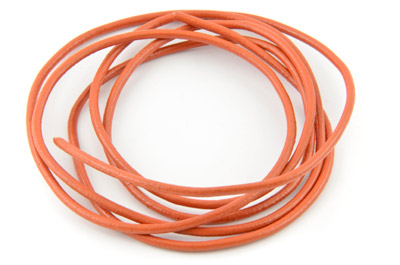cordon de cuir 2mm orange x10m