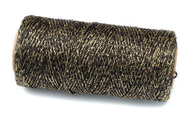 waxed polyester thread black/gold 100m