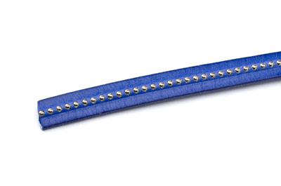 flat leather 10mm electric blue with silver balls x1m