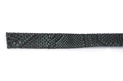leather flat reptile print 10mm navy green x1m