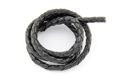 braided leather cord black 4mm x3m