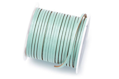 flat leather 2mm aqua coil approx x5mtr