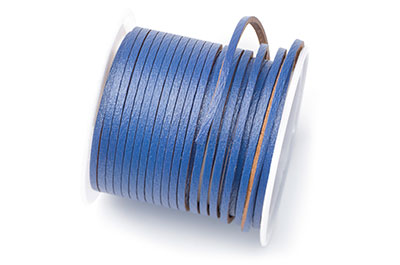 flat leather 2mm blue coil approx x5mtr