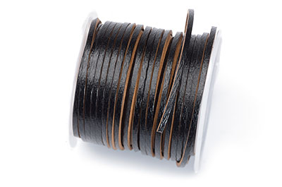 flat leather 2mm black coil approx x5mtr