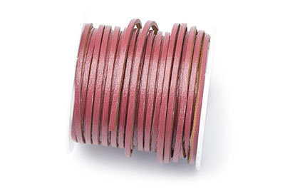 leather flat 2mm old pink coil approx x5mtr