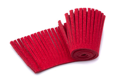 artificial suede weft 28mm red x1,60m