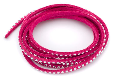 suede band 3mm fuchsia with rivets silver x5m