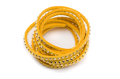 suede band 3mm yellow with rivets gold x5m