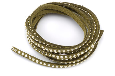 suede band 3mm khaki with rivets gold x5m