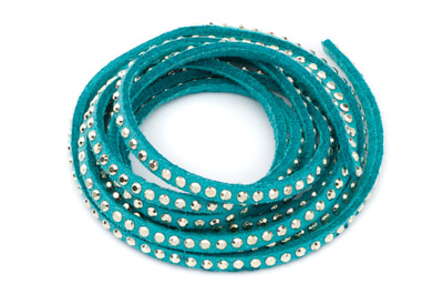 suede band 3mm green turquoise with rivets gold x5m