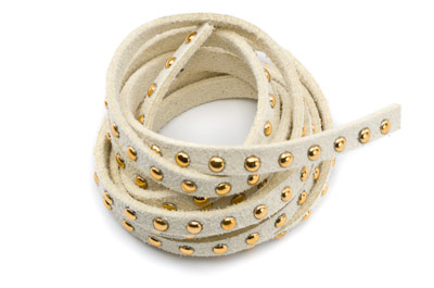 suede band 5mm beige with rivets gold x5m