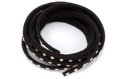 suede band 5mm black with rivets gold x1 spool (5x1mtr)