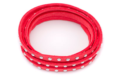 suede band 5mm coral with rivets silver x1 spool (5x1mtr)