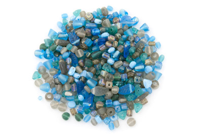 bead mix turquoise grey 150gr
