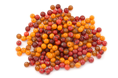mix ronde 7mm rouge orange brillant 100g