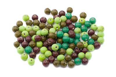 bead mix round 8mm green red-brown 100g