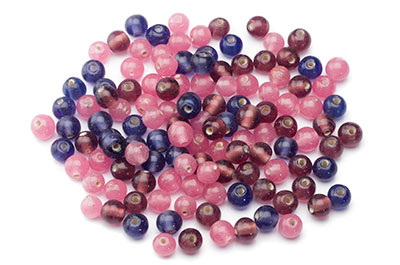 bead mix round 8mm mauve pink 100g