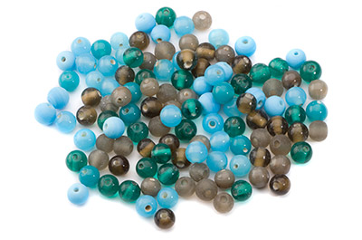 bead mix round 8mm turquoise grey 100g