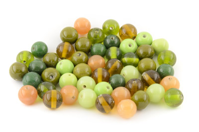 bead mix round 14mm green topas 200gr