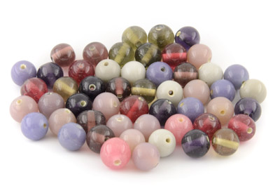 bead mix round 14mm mauve grey 200gr