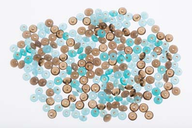 bead mix 8mm saucer turquoise grey shiny 100gr