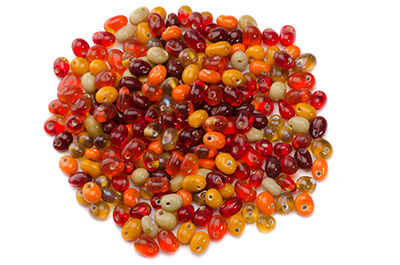 bead mix drop 8mm red orange 100g