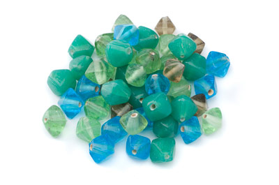 bead mix bicone 15mm turquoise green 100gr