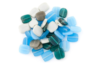 bead mix square flat 22*22mm turquoise grey 200g