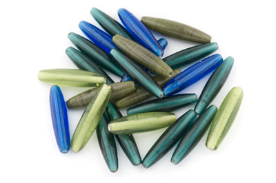 bead mix cylinder oval 50*11mm green blue lagoon 200g