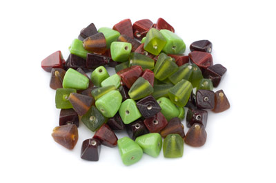 bead mix pyramid 10mm green brown 100gr