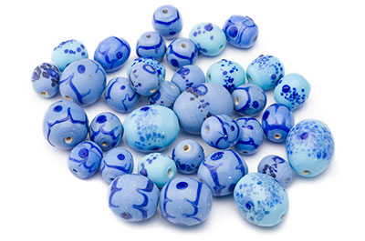 bead mix multi turquoise blue 150gr