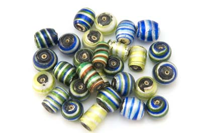 bead mix rolled up silver green blue 100gr