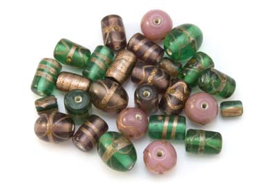 bead mix golden emerald green pink 100gr