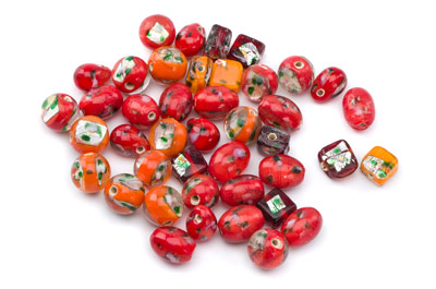 bead mix flower coralred orange 50gr