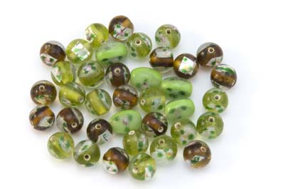 bead mix flower green topaz 50gr